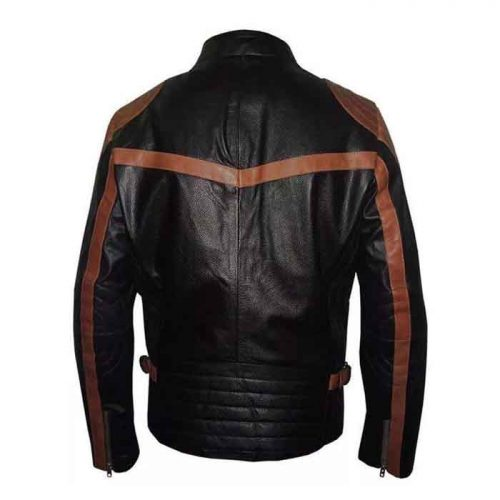 Mens Brown Strips Motorbike Leather Jacket Motorbike Collection Free Shipping
