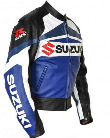 SUZUKI MOTORCYCLE LEATHER JACKET WITH AROMOUR Motorbike Collection Free Shipping