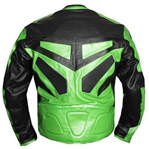 MOTORCYCLE SPEED RACING ARMOR Motorbike LEATHER JACKET GREEN Motorbike Collection Free Shipping