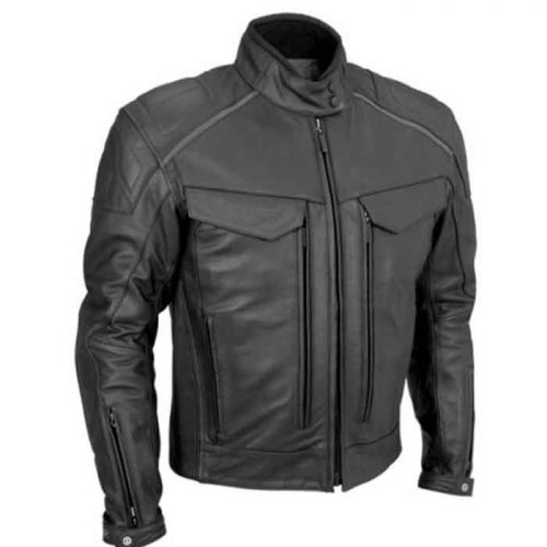 MEN'S BLACK MOTORBIKE LEATHER JACKETS Motorbike Collection Free Shipping