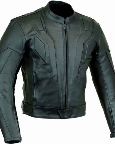 Mens Black Armoured Motorbike Leather Jacket Motorbike Collection Free Shipping