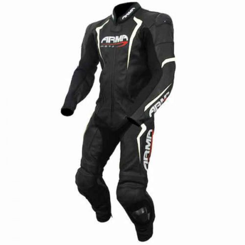 Armr Motorcycle Racing Leather Suit – Black/White/Red MotoGp Collection Free Shipping