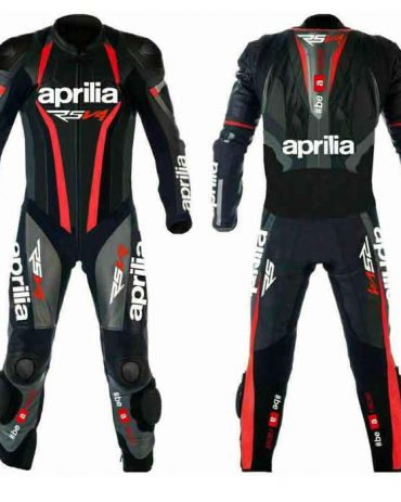 NEW Black APRILIA Motorbike Racing Leather Suit MotoGp Collection Free Shipping