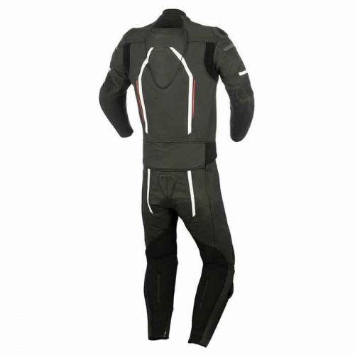 BLACK COWHIDE RACING MOTORCYCLE LEATHER SUIT MotoGp Collection Free Shipping