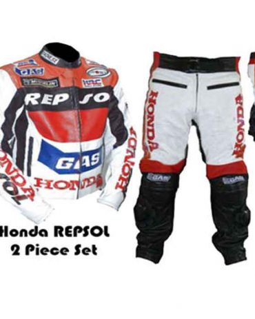 GAS REPSOL RED MOTORBIKE MOTORCYCLE COWHIDE LEATHER ARMOURED 2 PIECE SUIT Motorbike Collection Free Shipping