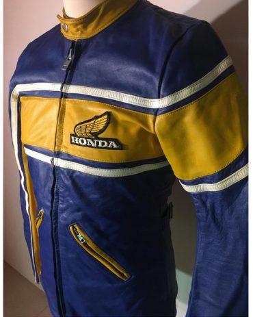 HONDA Motorcycle Vintage Leather Jacket Authentic Unisex 1970s Motorbike Jackets Free Shipping