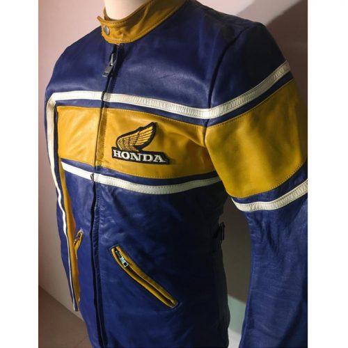 HONDA Motorcycle Vintage Leather Jacket Authentic Unisex 1970s Motorbike Collection Free Shipping