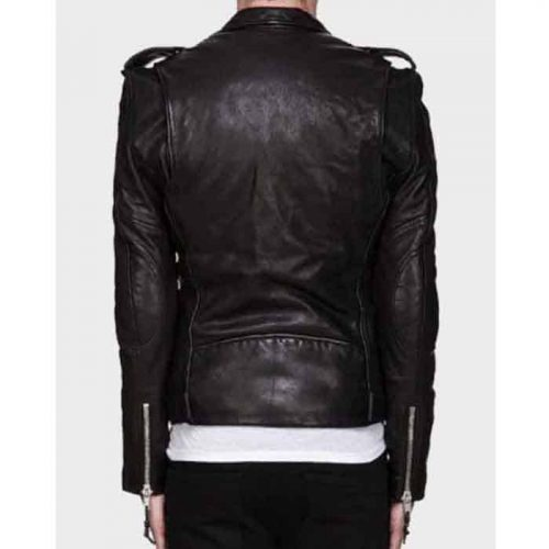 Mens Asymmetrical Zipper Motorcycle Leather Jacket Motorcycle Collection Free Shipping