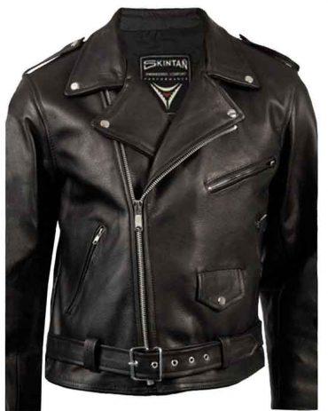 Men's Black Leather Motorcycle Jacket – Brando Motorbike Jackets Free Shipping