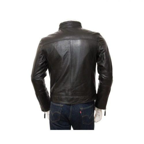 Men's Black Motorcycle Leather Jacket Motorbike Boots Free Shipping