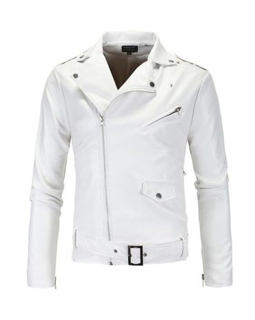 WHITE MEN FASHION CASUAL SOLID TURN DOWN COLLAR MOTORCYCLE LEATHER JACKET COAT Motorbike Jackets Free Shipping