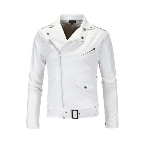 WHITE MEN FASHION CASUAL SOLID TURN DOWN COLLAR MOTORCYCLE LEATHER JACKET COAT Motorbike Collection Free Shipping
