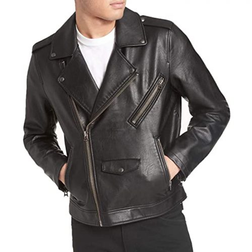Levi's Men's Faux Leather Motorcycle Jacket Motorbike Boots Free Shipping