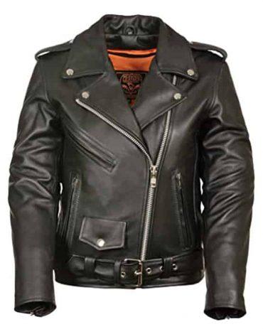 Ladies Motorcycle Leather Jacket Plain Sides Motorcycle Leather jackets Free Shipping