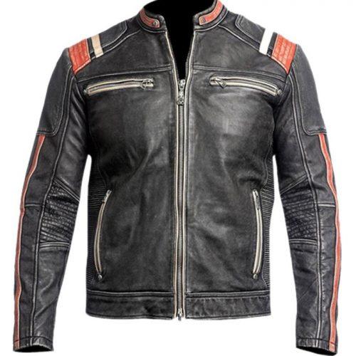 Men Real Lambskin Motorcycle Leather Biker Jacket Motorbike Collection Free Shipping