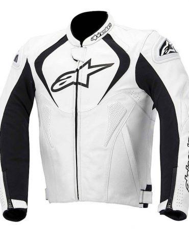 Motorcycle Leather Jacket Alpinestars JAWS LEATHER JACKET White Motorbike Jackets Free Shipping