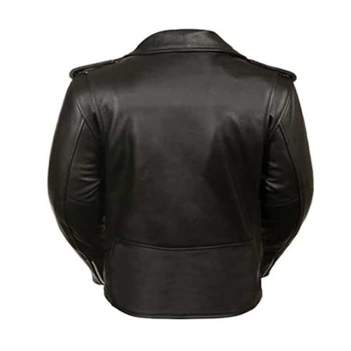 Ladies Motorcycle Leather Jacket Plain Sides Motorcycle Collection Free Shipping