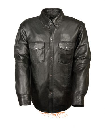 MEN'S LEATHER SHIRT COWHIDE LEATHER MOTORCYCLE RIDER SHIRT Motorbike Jackets Free Shipping
