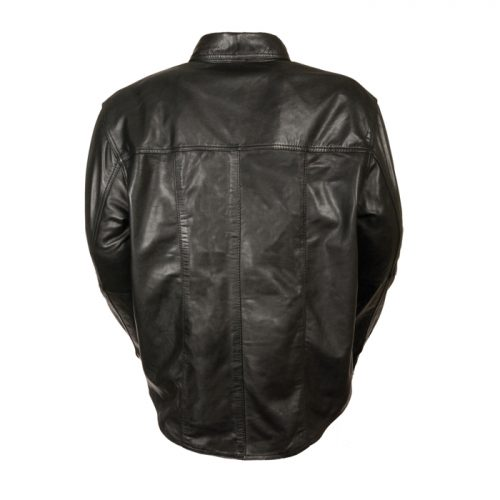 MEN'S LEATHER SHIRT COWHIDE LEATHER MOTORCYCLE RIDER SHIRT Motorbike Collection Free Shipping