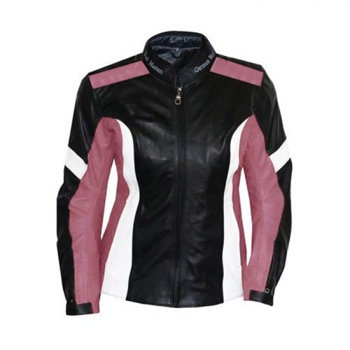 women Leather Motorbike jacket made of Cowhide black/pink Motorbike Collection Free Shipping