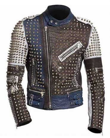 Mens Cafe Racer Funky Rider Studded Punk Retro Motorcycle Jacket Motorcycle Leather jackets Free Shipping