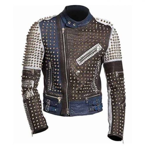 Mens Cafe Racer Funky Rider Studded Punk Retro Motorcycle Jacket Motorcycle Collection Free Shipping