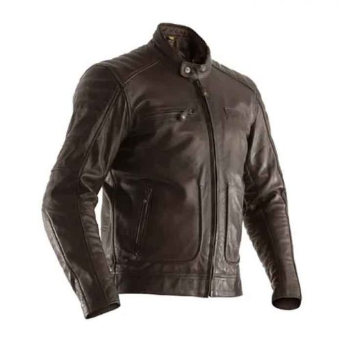 Men's Brown Motorcycle Leather Jacket Motorcycle Collection Free Shipping
