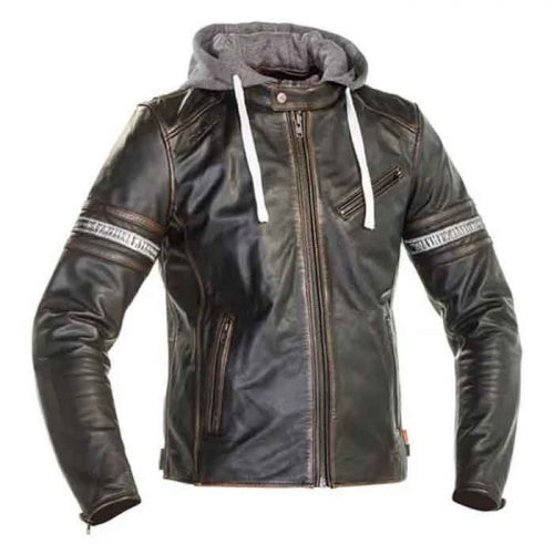 Light Brown Leather Men's Jacket Motorcycle Collection Free Shipping