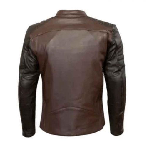 DARK BROWN MOTORCYCLE LEATHER MENS JACKET Motorcycle Collection Free Shipping