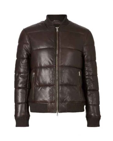 BOWEN LEATHER PUFFER BOMBER JACKET Fashion Collection Free Shipping