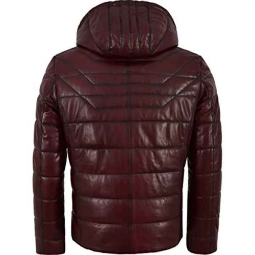 Men's Puffer Hooded Quilted Lambskin Leather Jacket Fashion Collection Free Shipping
