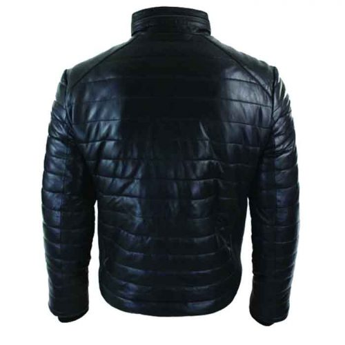 Genuine Quilted Mens Real Leather Puffer Zipped Jacket Black Casual Fashion Collection Free Shipping