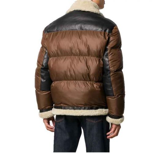 Front Full Zipped Puffer Leather Jacket For Men's Fashion Collection Free Shipping