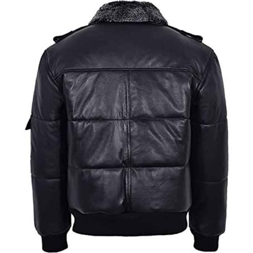 Men's Black Hair On Collar Puffer Bomber 100% Real Leather Jacket Fashion Collection Free Shipping