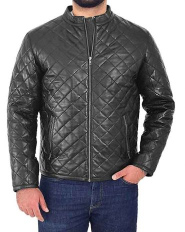 Men's Leather Puffer Jacket Black Padded Zip Fasten Stand-up Collar Fashion Collection Free Shipping
