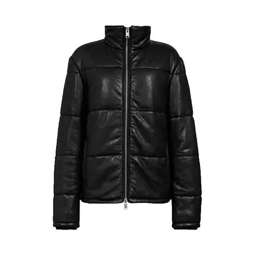 Men's Leather Puffer Jacket, Black Fashion Collection Free Shipping
