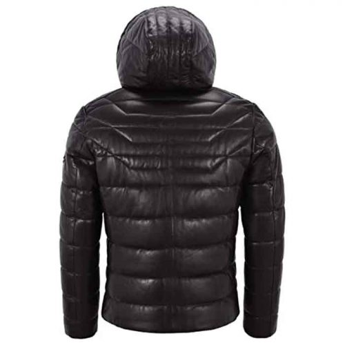 Men's Real Leather Jacket Puffer Hooded Quilted Design 2021 Fashion Collection Free Shipping