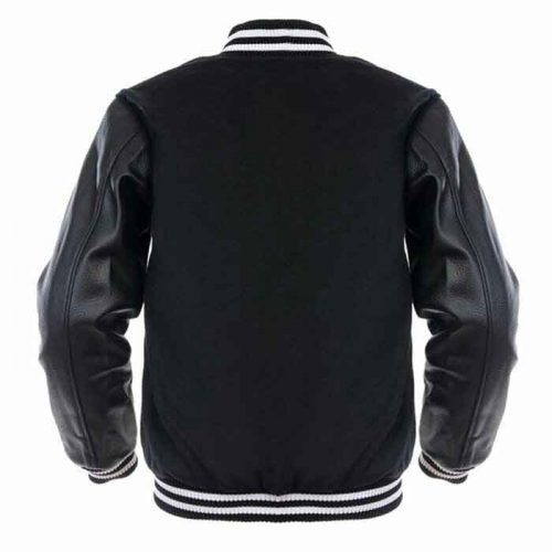 white leather sleeve black wool body varsity jacket Fashion Collection Free Shipping
