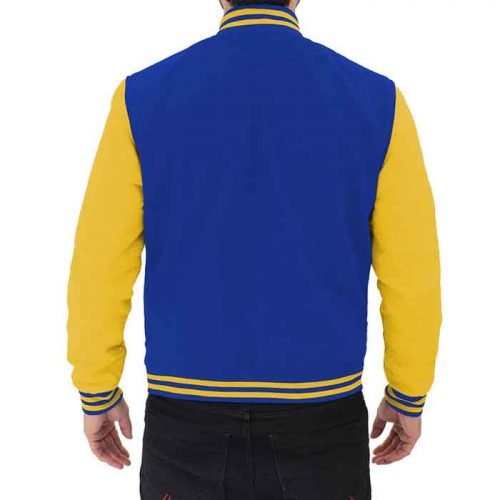 Blue and Yellow Varsity leather Jacket Fashion Collection Free Shipping