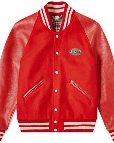 WOOL BODY LEATHER VARSITY JACKET Fashion Collection Free Shipping