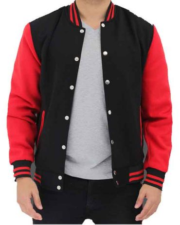 Mens Baseball Style Red and Black Varsity Jacket Fashion Collection Free Shipping
