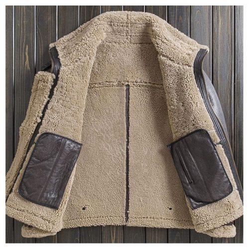Brown Mens B3 Shearling Jacket Short Fur Coat Detachable Hooded Leather Jacket Lapel Mens Winter Coats B3 Leather Jacket Free Shipping