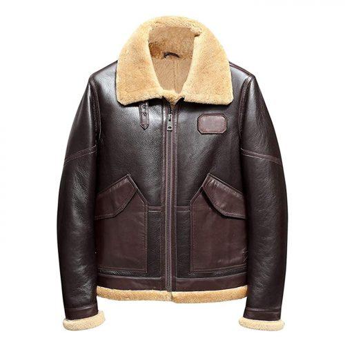Mens B3 Shearling Jacket Sheepskin Coat Leather Jacket Fur Coat Airforce Flight Jacket B3 Leather Jacket Free Shipping