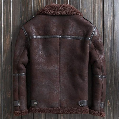 Mens B3 Shearling Jacket Short Fur Coat Detachable Hooded Leather Jacket Lapel Mens Winter Coats B3 Leather Jacket Free Shipping