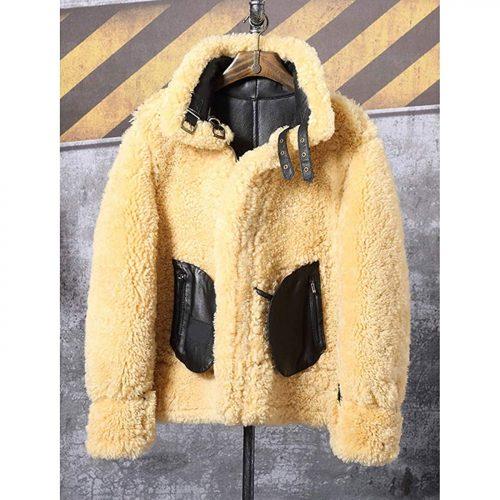 Mens B3 Sheepskin Coat Short Leather Jacket Airforce Flight Coat Motorcycle Jacket Mens Fur Coat B3 Leather Jacket Free Shipping