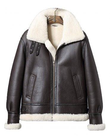 Mens B3 Sheepskin Shearling Jacket Short Leather Jacket Mens Motorcycle Jacket Airforce Flight Coat B3 Leather Jacket Free Shipping