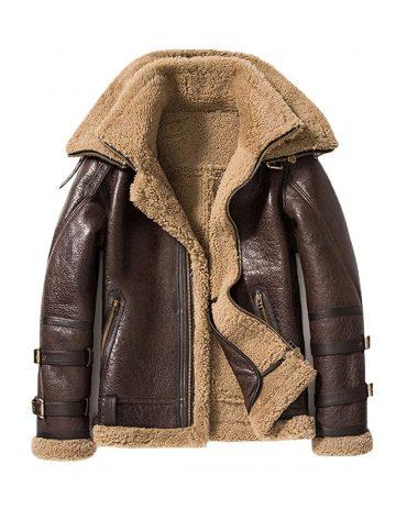 Mens Brown Shearling Jacket Short Sheepskin Coat Double Collar Fur Jacket Mens Leather Jacket B3 Leather Jacket Free Shipping