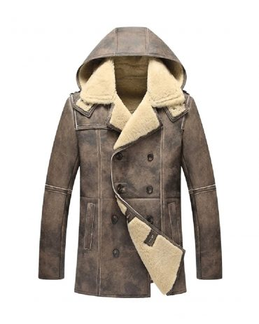 Mens Shearling Coat Sheepskin Jacket Genuine Leather Hooded Outerwear Long Style Mens Fur Coat B3 Leather Jacket Free Shipping