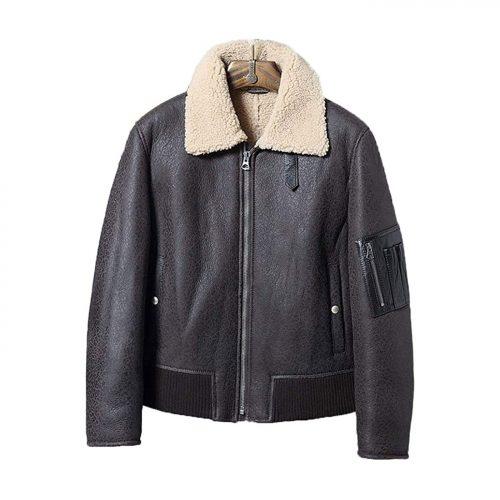 New Mens B3 Shearling Jacket Sheepskin Coat Short Burst Crack Leather Jacket Mens Winter Coats B3 Leather Jacket Free Shipping