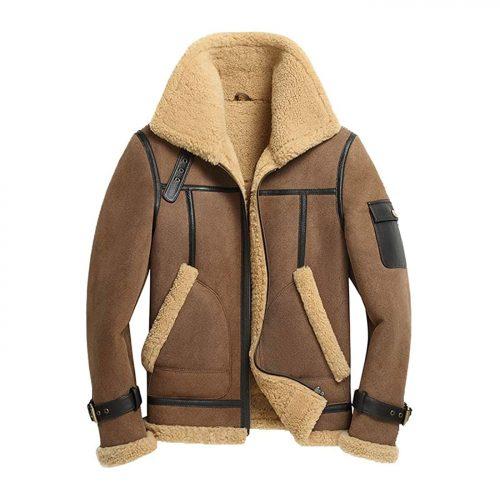 New Mens Shearling Coat Short Fur Coat Brown Leather Jacket Mens Wool Coat B3 Leather Jacket Free Shipping
